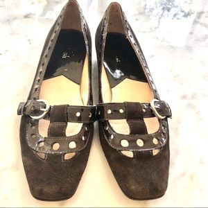 Michael Kors brown suede patent flats